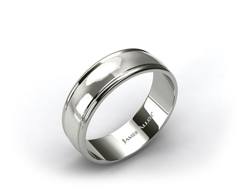Palladium 8mm Grooved Comfort Fit Wedding Band