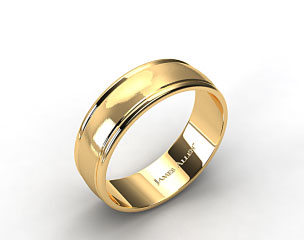 14k Yellow Gold 8mm Grooved Comfort Fit Wedding Band