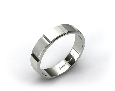 Platinum 6mm Grooved Satin Finish Comfort Fit Wedding Band