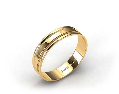 14k Yellow Gold 6mm Milgrained Edge Comfort Fit Wedding Band