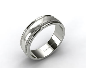 Platinum 8mm Milgrained Edge Comfort Fit Wedding Band