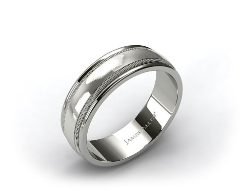 18k White Gold 8mm Milgrained Edge Mens Comfort Fit Wedding Band