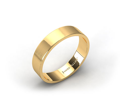 18k Yellow Gold 6mm Flat Satin Finish Comfort Fit Wedding Band