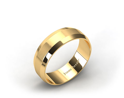 18K Yellow Gold 8mm Beveled Comfort Fit Wedding Band