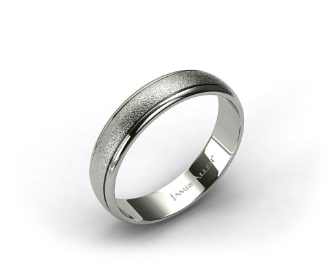 18k White Gold 6mm Hammered Comfort Fit Wedding Band