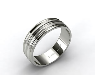 14k White Gold 8mm Grooved Comfort Fit Wedding Band