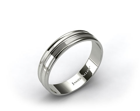 Palladium 6mm Grooved Comfort Fit Wedding Band