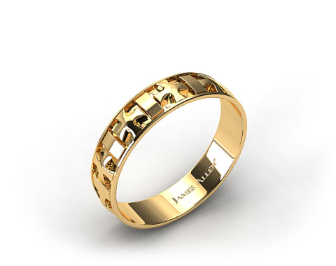 14k Yellow Gold 6mm Iron Cross Mens Wedding Wedding Band