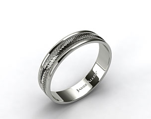 14k White Gold 6mm Arrow Design Comfort Fit Wedding Band