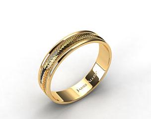 18K Yellow Gold 6mm Arrow Design Comfort Fit Wedding Band
