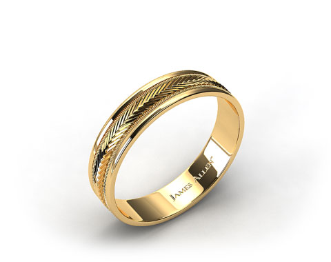 14k Yellow Gold 6mm Arrow Design Comfort Fit Wedding Band