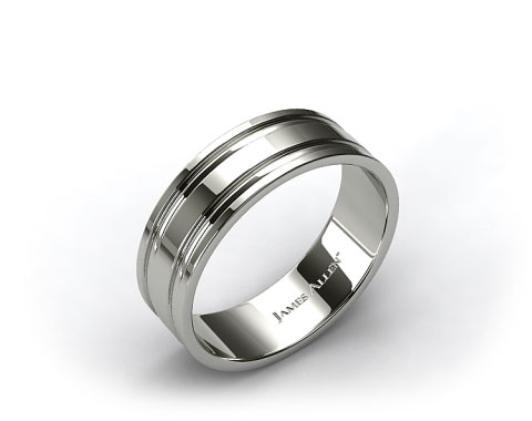 18K White Gold 8mm Grooved Comfort Fit Wedding Band