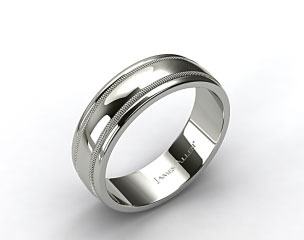 18k White Gold 8mm Milgrain Comfort Fit Wedding Band