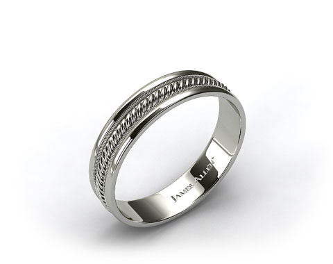 18k White Gold 6mm Braided Milgrain Comfort Fit Wedding Band