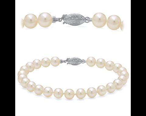 14k White Gold 8 Inch 6-6.5mm Akoya Pearl Bracelet