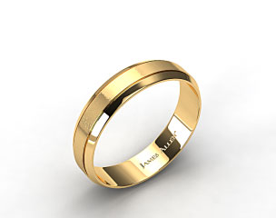 14K Yellow Gold 6mm Etched Comfort Fit Wedding Band