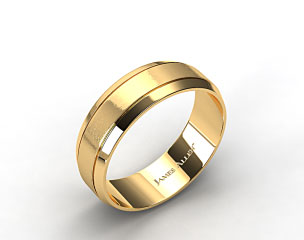 14k Yellow Gold 8mm Etched Comfort Fit Wedding Band