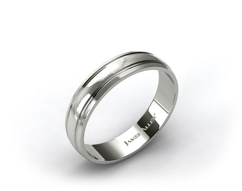 Platinum 6mm Grooved Comfort Fit Wedding Band