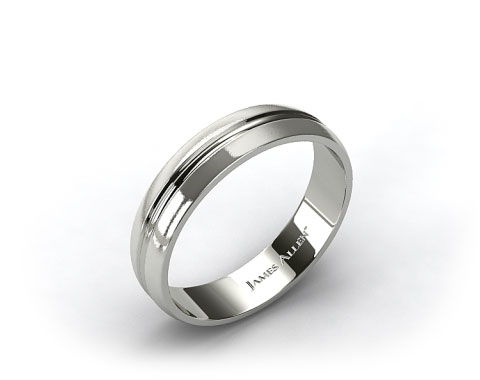 Platinum 6mm Carved Comfort Fit Wedding Band