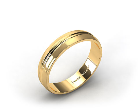14K Yellow Gold 6mm Carved Comfort Fit Wedding Band