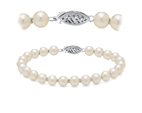 14k White Gold Freshwater Pearl Alternating Bead Bracelet