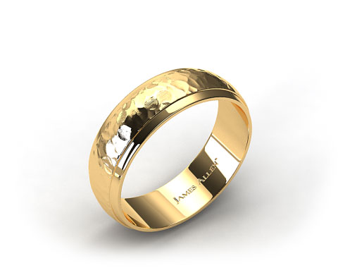 14k Yellow Gold 8mm Hammered Comfort Fit Wedding Band