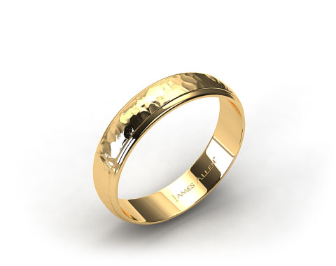 14K Yellow Gold 6mm Hammered Comfort Fit Wedding Band