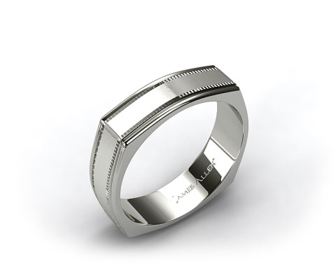 14k White Gold 7mm Squared Milgrain Comfort Fit Wedding Band