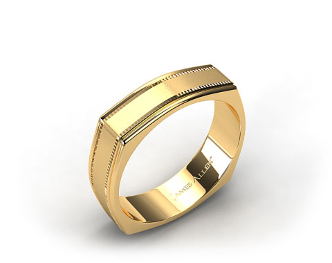 14k Yellow Gold 7mm Squared Milgrain Comfort Fit Wedding Band