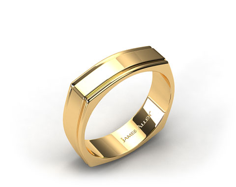 14k Yellow Gold 7mm Squared Groove Comfort Fit Wedding Band