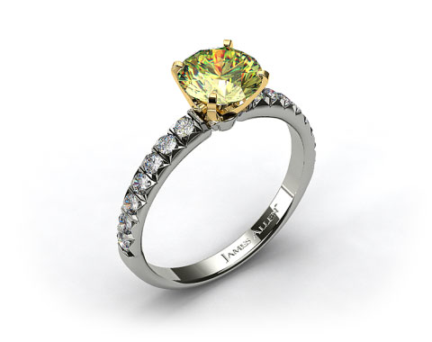 18k White Gold Pave Set Four Prong Diamond Engagement Ring (Yellow Gold Basket)