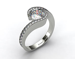 14k White Gold Bypass Pave Set Diamond Engagement Ring