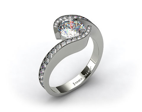 18k White Gold Bypass Pave Set Diamond Engagement Ring