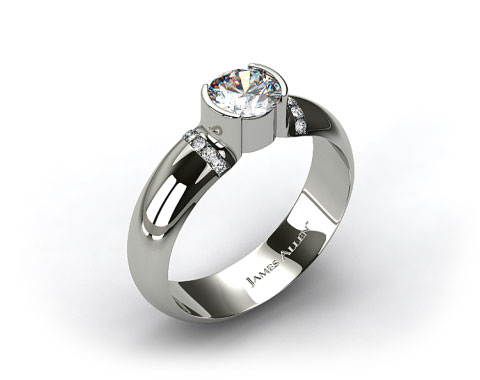 14k White Gold Half-Bezel Pave Set Diamond Engagement Ring