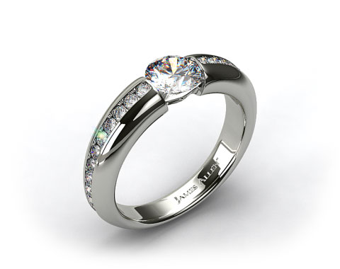 18k White Gold Bar-Set Pave Set Diamond Engagement Ring