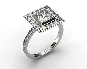 14k White Gold Pave Set Halo Diamond Engagement Ring