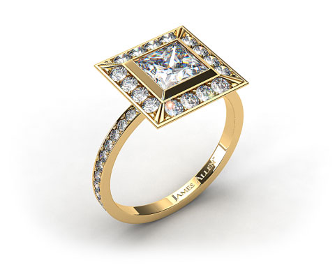 18k Yellow Gold Pave Set Halo Diamond Engagement Ring