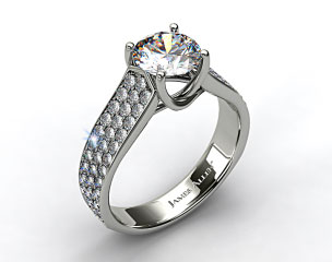 14k White Gold Cross Prong Pave Set Diamond Engagement Ring