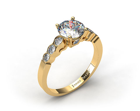 18k Yellow Gold Bezel Set Surprise Diamond Engagement Ring