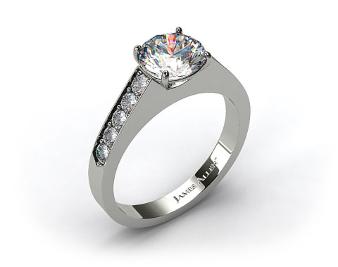 Platinum Single Claw Prong Pave Set Diamond Engagement Ring