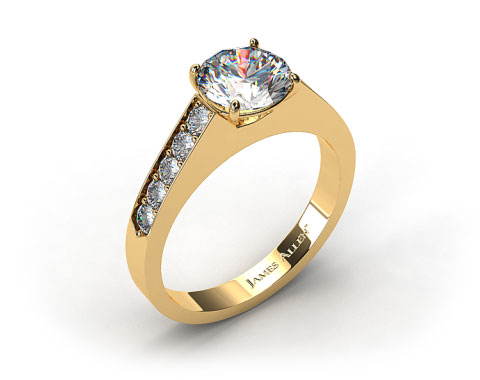 18k Yellow Gold Single Claw Prong Pave Set Diamond Engagement Ring