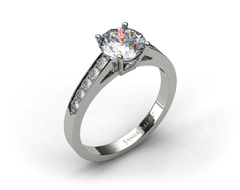 18k White Gold Single Claw Prong Pave Set Surprise Diamond Engagement Ring