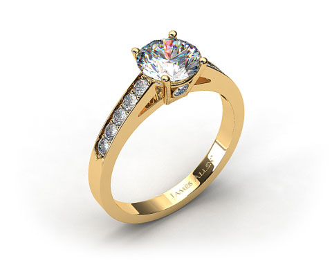 18k Yellow Gold Single Claw Prong Pave Set Surprise Diamond Engagement Ring