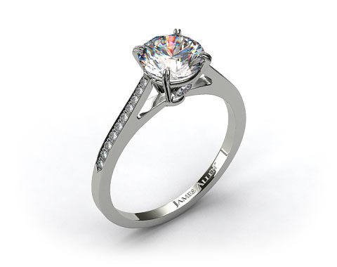 18k White Gold Double Claw Prong 0.18ct Pave Set Surprise Diamond Engagement Ring