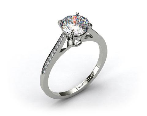 18k White Gold Double Claw Prong 0.16ct Pave Set Diamond Engagement Ring