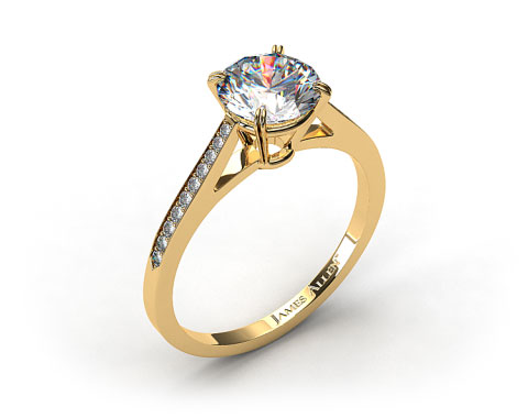 18k Yellow Gold Double Claw Prong 0.16ct Pave Set Diamond Engagement Ring