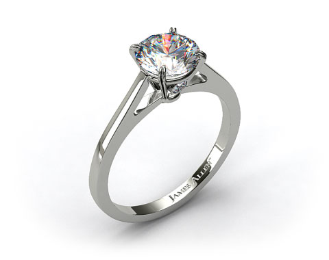 18k White Gold Double Claw Prong Surprise Diamond Engagement Ring