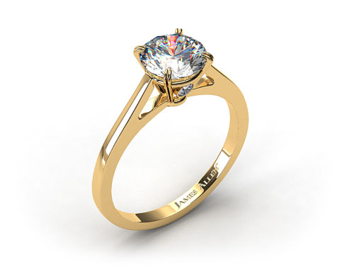 18k Yellow Gold Double Claw Prong Surprise Diamond Engagement Ring