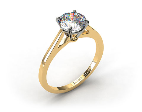 18k Yellow Gold Double Claw Prong Engagement Ring