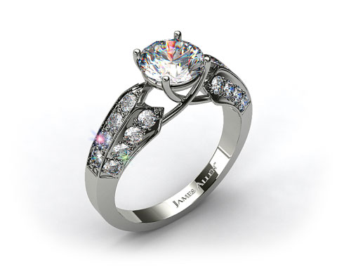 Platinum Three Row Pave Set Diamond Engagement Ring